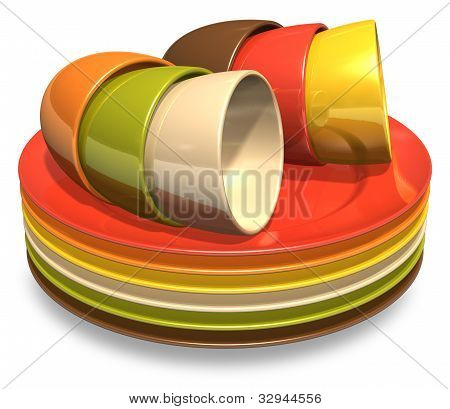 Set of color porcelain plates and coffee cups