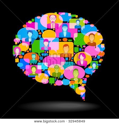 the concept of communication. Major bubble speech consists of small and bright speech bubbles