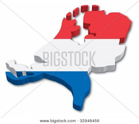 3D Holland map with flag