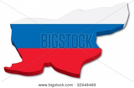 3D Slovenia map with flag