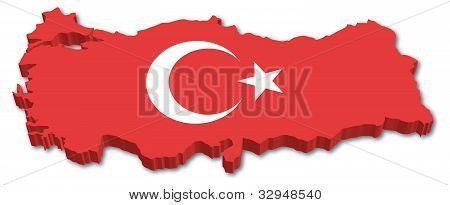 3D Turkey map with flag