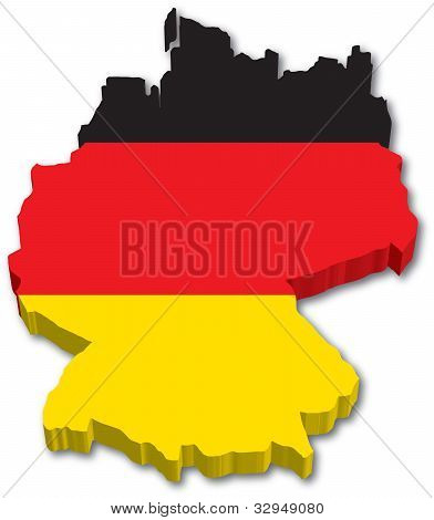 3D Germany map with flag
