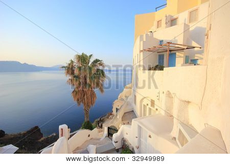Village of Oia at Santorini island in the Cyclades, aegean sea, Greece