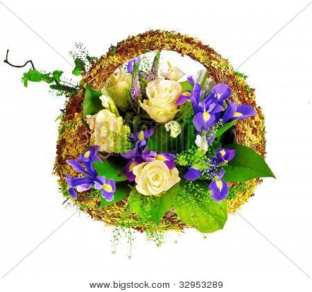 basket of roses, iris dutch xiphium, and veronica