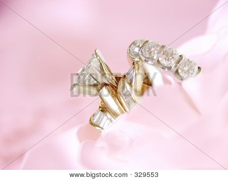 Wedding Rings Pink Background