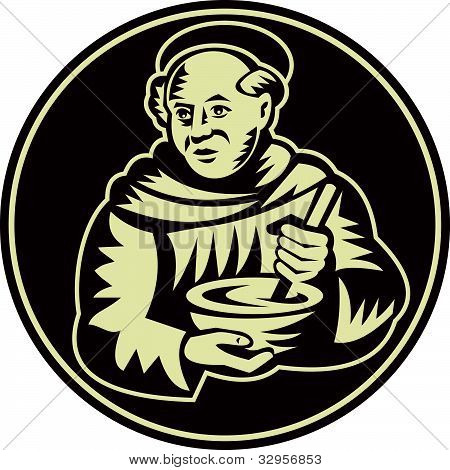 Friar Monk Cook Mixing Bowl Woodcut