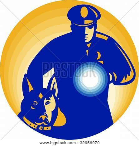 Security Guard Policeman Police Dog