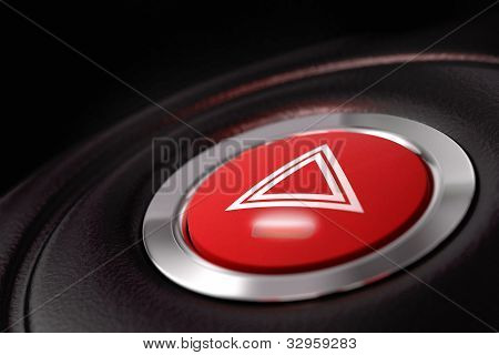 pushed red hazard warning button