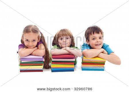 Small kids with books ready for school - isolated