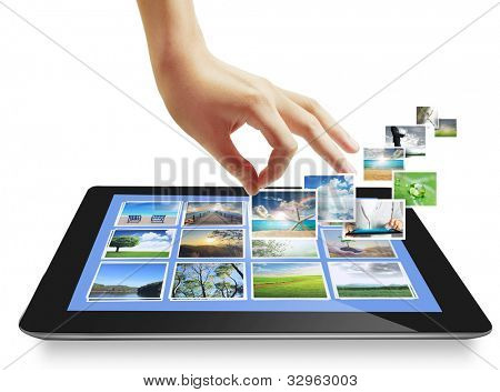 Touch Tablet-Konzept-Bilder streaming aus der Tiefe, isolated on white background