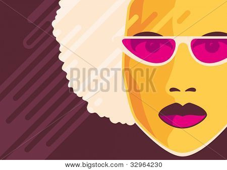 Retro poster with ladies portrait. Vector illustration.