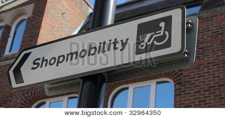 shopmobility sign for the elderly & disabled