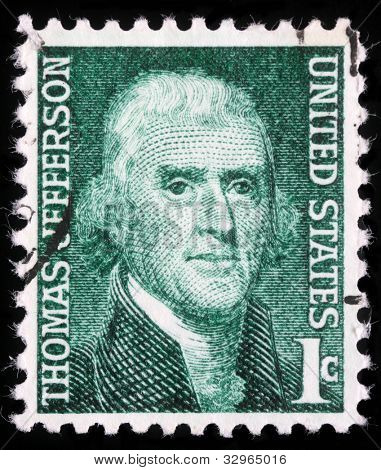 USA - CIRCA 1950: A stamp shows image portrait Thomas Jefferson was the third President of the United States and the principal author of the Declaration of Independence (1776), circa 1950.