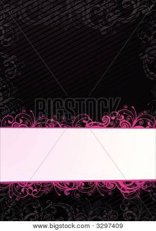 Vector Black Floral Wallpaper With Copy Space