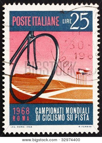 Postage stamp Italy 1968 shows Bicycle Wheel and Velodrome, Rome
