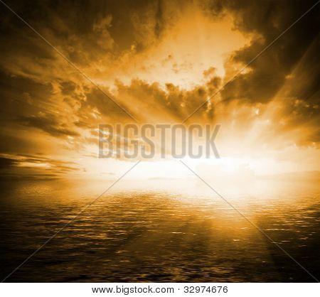 tons laranja dramática paisagem ao pôr do sol