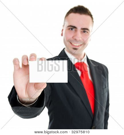 Manager Showing Blank Business Card