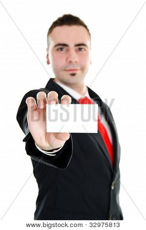 Businessman Holding Businesscard