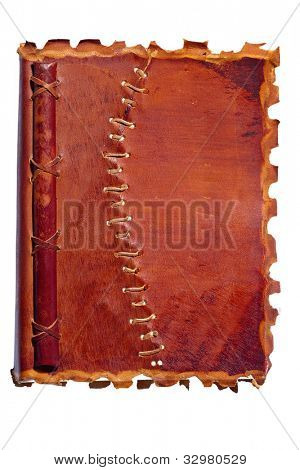 an old diary or notebook with a leather cover. lies on a white background.