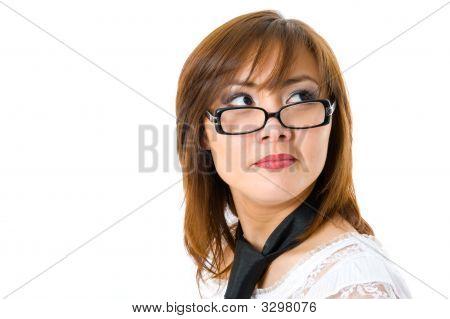 schöne japanische geschäftsfrau, Blick nach oben