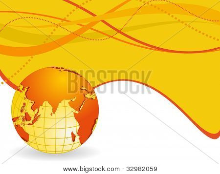 Professional Corporate or Business template for financial presentations showing globe in yellow and orange color wave background. EPS 10. Vector illustration.