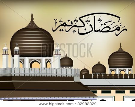 Arabic Islamic calligraphy of Ramazan Kareem or Ramadan Kareem  text with Mosque or Masjid on modern abstract background,  in golden color. EPS 10. Easy to edit.