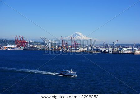 Seattle Waterfront - Dockyard Cranes;  Mt. Rainier