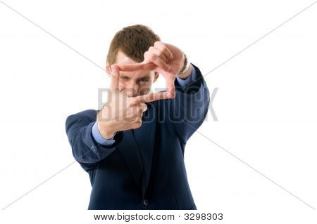 Businessman Making A Frame With His Hands