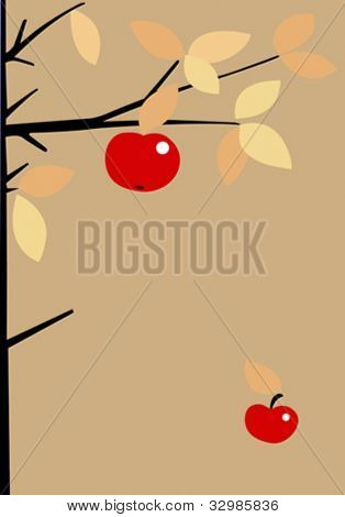 red apple on brown background, vector illustration