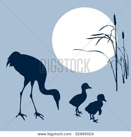 crane with nestling silhouette on solar background, vector illustration