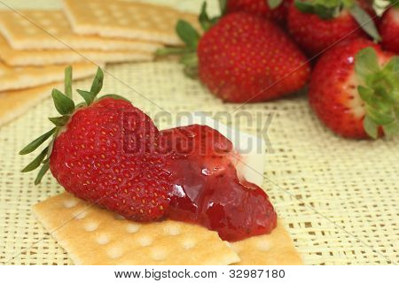 strawberry jam and crackers