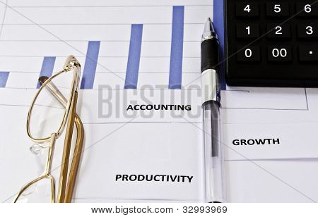 Graph, pen, business accounts.