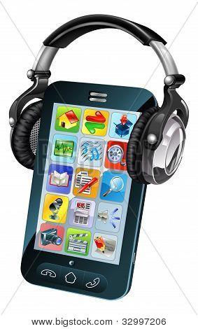 Cell Phone Wearing Headphones