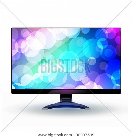 Modern wide screen tv display 2. Isolated on white