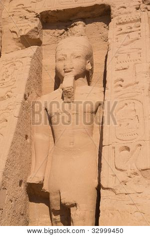 Statue Of Queen In Abu Simbel Temple (egypt)