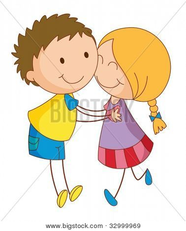 Illustration of 2 young lovers