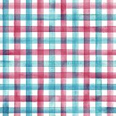 Watercolor Stripe Plaid Seamless Pattern. Colorful Teal Red Stripes On White Background. Watercolour poster