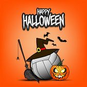 Happy Halloween. Volleyball Template Design. Volleyball Ball With Witch Hat, Pumpkin, Broom, Spider  poster