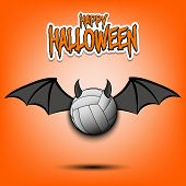 Happy Halloween. Devil Volleyball Ball. Volleyball Ball With Horns And Wings. Design Pattern For Ban poster