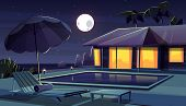 Cartoon Background With Hotel At Night. Living Apartment Of Tropical Resort Water Pool, Full Moon Ba poster