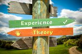 Street Sign The Direction Way To Experience Versus Theory poster