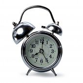 isolated retro alarm clock on white background, one big bell of alarm clock and normal side, alarmin poster