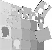 pic of mental_health  - The gray areas of a Puzzling People Faces jigsaw puzzle suggest the complexity of mental health and other human issues - JPG