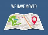 We Have Moved New Office Icon Location. Address Move Change Location Announcement Business Home Map poster