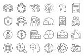 Business User Line Icons. Group, Profile And Teamwork Icons. Portfolio, Timer And Security Shield Sy poster