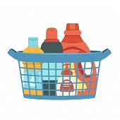 Basket For Cleaning With Detergents And Disinfectants. Vector Easily Editable Illustration On A Whit poster