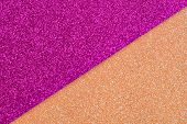 Multicolor Paper Diagonal Background Pink, Orange Colors. Top View, Copy Space. Shiny Multicolored F poster