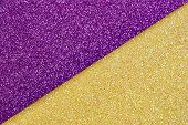 Multicolor Paper Diagonal Background Yellow, Purple Colors. Top View, Copy Space. Shiny Multicolored poster