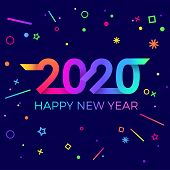 2020 Happy New Year. Paper Memphis Geometric Bright Style For Holidays Flyers, Greetings, Invitation poster