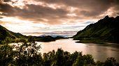 Sea Panoramic View To Ingelsfjorden At Hinnoya, Lofoten, Norway poster